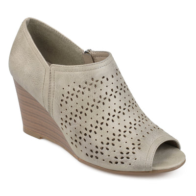 Brinley Co. Womens Faux Leather Peep-toe Laser Cut Wedges