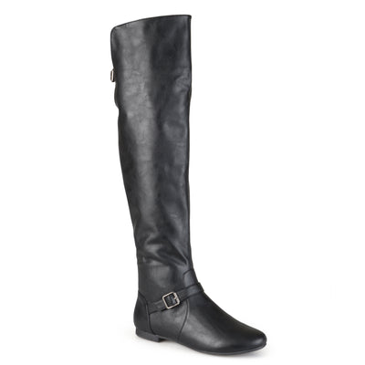 Brinley Co. Womens Wide Calf Buckle Tall Round Toe Riding Boots