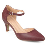 Brinley Co. Womens Barra Faux Leather Comfort-sole Ankle Strap Almond Toe Heels