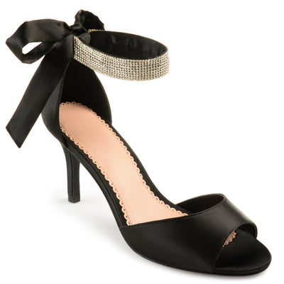 Brinley Co. Belvie Satin Rhinestone Ankle Strap Open-toe High Heels