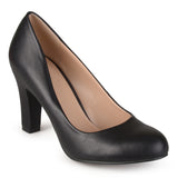Brinley Co. Womens Chunky Heel Matte Finish Pumps