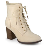 Brinley Co. Womens Lace-up Stacked Heel Faux Suede Booties