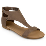 Brinley Co. Womens Metal Detail Flat Faux Leather Sandals