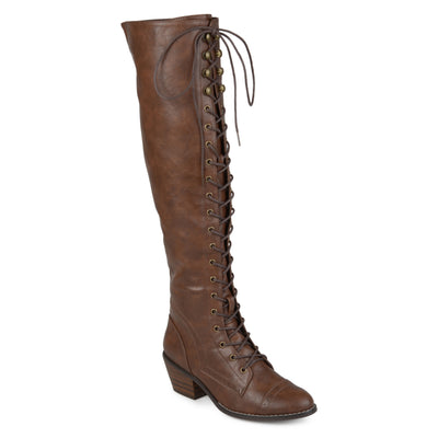 Brinley Co. Womens Blitz Faux Leather Wide Calf Over-the-knee Lace-up Brogue Boots