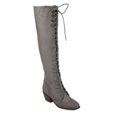 Brinley Co. Womens Blitz Faux Suede Over-the-knee Lace-up Brogue Boots