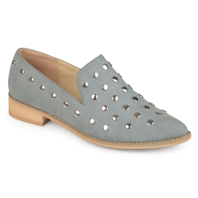 Brinley Co. Womens Faux Nubuck Stud Pointed Toe Flats