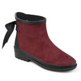 Brinley Co. Womens Botan Faux Suede Bow Ankle Rainboots
