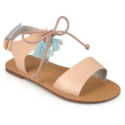 Brinley Kids Little Girl Faux Leather Tasseled Flat Sandals
