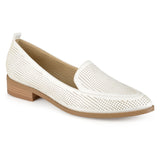 Brinley Co. Womens Pointed Toe Faux Leather Laser Cut Stacked Heel Loafers