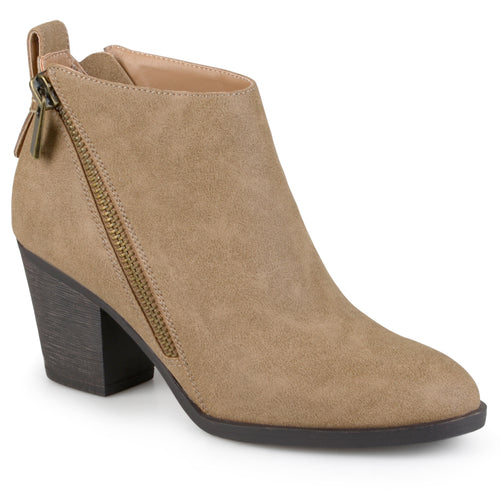 Brinley Co. Womens High Heeled Zippered Chunky Heel Ankle Booties