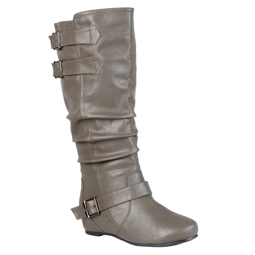 Brinley Co. Womens Extra Wide Calf Buckle Slouch Low-wedge Boots