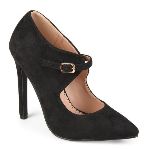 Brinley Co. Womens Faux Suede Pointed Toe Cut-out Heels