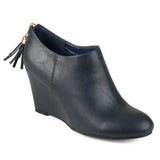 Brinley Co. Womens Faux Leather Tassel Wedge Booties