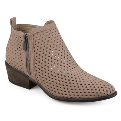 Brinley Co. Womens Side Zip Laser-cut Ankle Booties