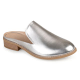 Brinley Co. Womens Slide-on Stacked Heel Faux Leather Mules