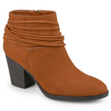 Brinley Co. Womens High Heeled Strappy Chunky Heel Ankle Booties