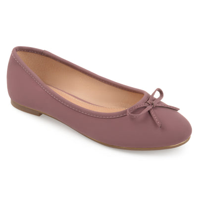 Brinley Co. Womens Corky Bow Detail Wide Width Ballet Flats