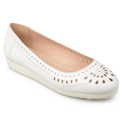 Brinley Co. Womens Cyra Faux Leather Laser-cut Comfort-sole Embroidered Lightweight Flats