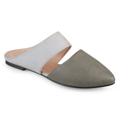 Brinley Co. Womens Faux Suede Faux Leather Slip-on Mules