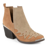 Brinley Co. Womens Faux Suede Two-tone Western Side Slit Booties