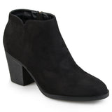 Brinley Co. Womens High Heeled Round Toe Chunky Heel Ankle Booties