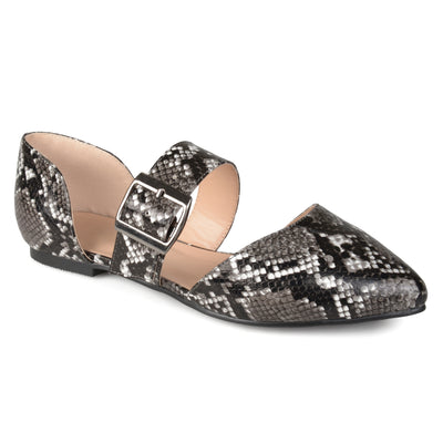 Brinley Co. Womens Pointed Toe Buckle Faux Leather Flats