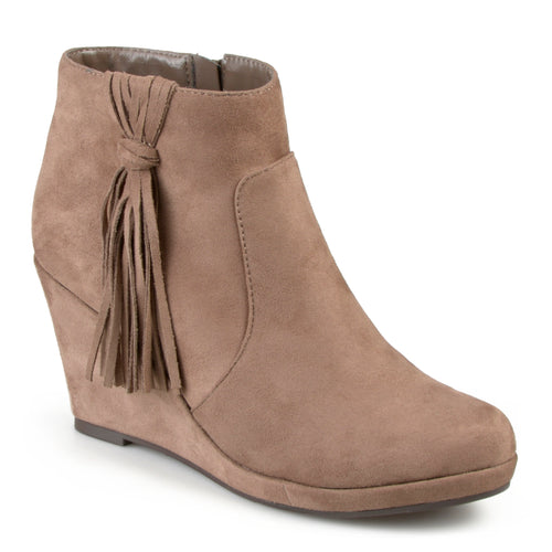 Brinley Co. Womens Faux Suede Tassle Round Toe Wedge Boots