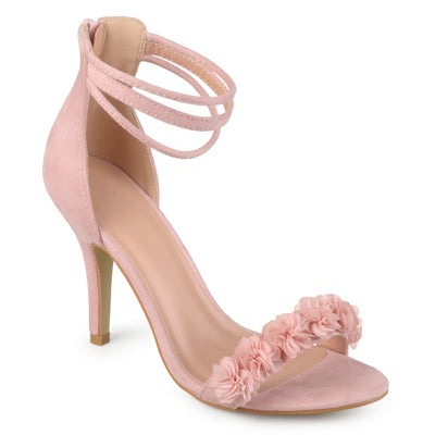 Brinley Co. Womens Faux Suede Flower Ankle Strap High Heels