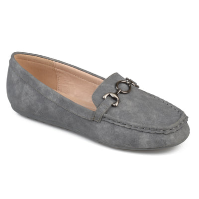 Brinley Co. Womens Elisha Faux Leather Comfort-sole Chain Accent Driving Loafers