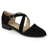 Brinley Co. Womens Stacked Wood Heel Crossover Ankle Strap D'orsay Dress Flats