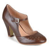 Brinley Co. Womens Cutout Round Toe Mary Jane Pumps
