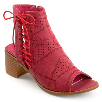 Brinley Co. Womens Elva Faux Leather Side Lace-up Perforated Cut-out Heel Booties