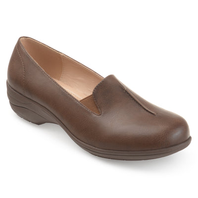 Brinley Co. Womens Emalin Casual Faux Leather Comfort-sole Loafers