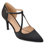 Brinley Co. Womens Faux Leather Satin Glitter Pointed Toe V-strap Heels