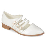 Brinley Co. Womens Buckle Pointed Toe Patent Shoes