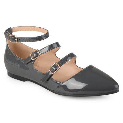 Brinley Co. Womens Buckle Faux Patent Strappy Flats