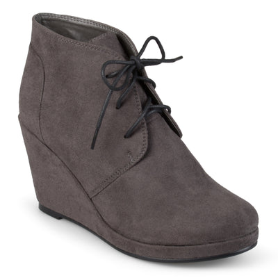 Brinley Co. Womens Wedge Faux Suede Booties
