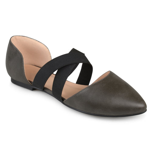 Brinley Co. Womens Pointed Toe Criss Cross Flats