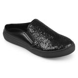 Brinley Co. Womens Glitter Faux Leather Slide Sneakers