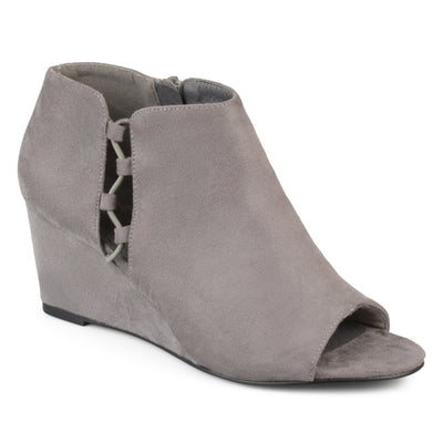 Brinley Co. Womens Faux Suede Open-toe Cut-out Wedges