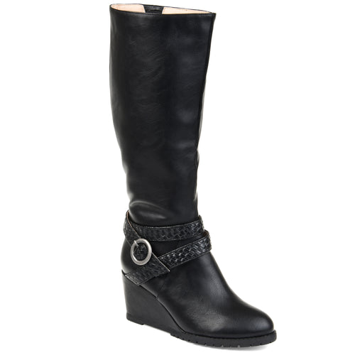 Comfort by Brinley Co. Womens Wide Calf Braid Strap Wedge Boot