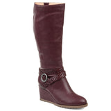 Comfort by Brinley Co. Womens Extra Wide Calf Braid Strap Wedge Boot