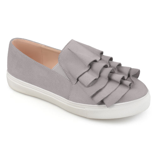 Brinley Co. Womens Faux Suede Slip-on Ruffle Sneakers