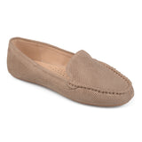 Brinley Co. Womens Comfort Sole Faux Nubuck Laser Cut Loafers