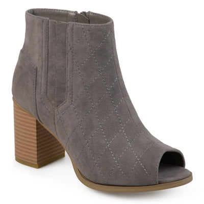 Brinley Co. Womens Stacked Heel Open-toe Heeled Quilted Stitch Booties
