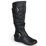 Brinley Co. Womens Extra Wide Calf Knee High Slouch Buckle Boots