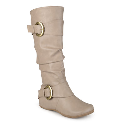 Brinley Co. Womens Buckle Knee-High Slouch Boot In Regular and Wide-Calf Sizes