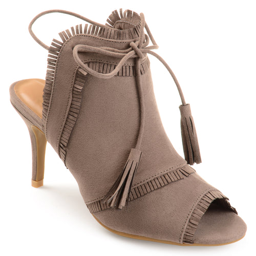 Brinley Co. Womens Fringe Tassle Faux Suede High Heels