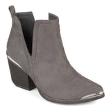 Brinley Co. Womens Faux Suede Stacked Wood Heel Metal Detail Side Slit Booties