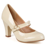Brinley Co. Womens Wide Width Mary Jane Patent Faux Leather Pumps